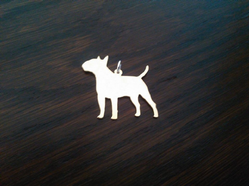English bull terrier pendant sterling silver handmade by saw piercing